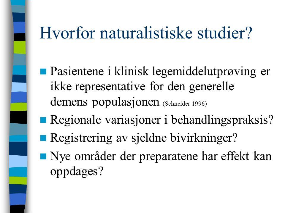 Hvorfor naturalistiske studier? Pasientene i klinisk legemiddelutprøving er ikke representative for den generelle demens populasjonen (Schneider 1996)