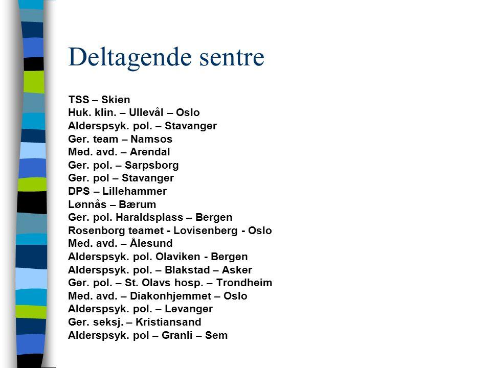 Deltagende sentre TSS – Skien Huk. klin. – Ullevål – Oslo Alderspsyk. pol. – Stavanger Ger. team – Namsos Med. avd. – Arendal Ger. pol. – Sarpsborg Ge