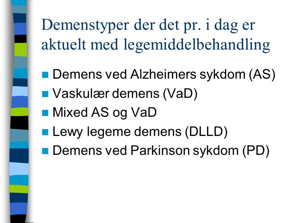 Demenstyper der det pr. i dag er aktuelt med legemiddelbehandling Demens ved Alzheimers sykdom (AS) Vaskulær demens (VaD) Mixed AS og VaD Lewy legeme