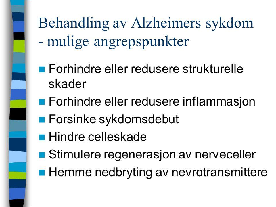 Behandling av Alzheimers sykdom - mulige angrepspunkter Forhindre eller redusere strukturelle skader Forhindre eller redusere inflammasjon Forsinke sykdomsdebut Hindre celleskade Stimulere regenerasjon av nerveceller Hemme nedbryting av nevrotransmittere