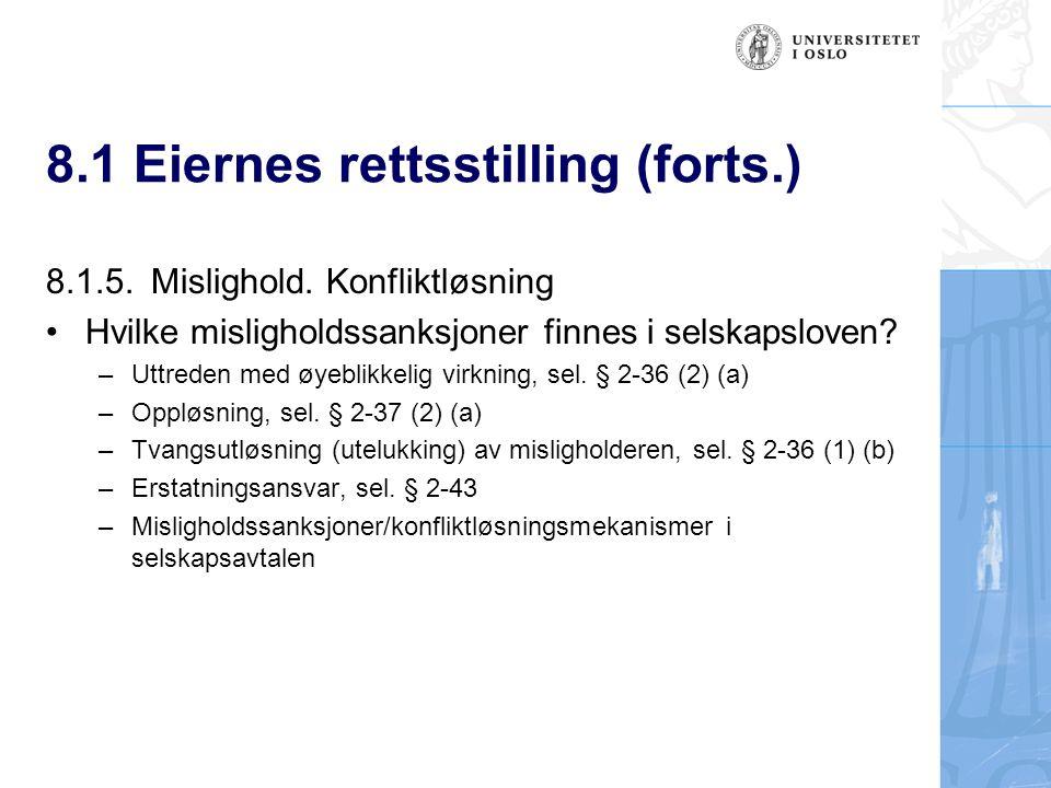 8.1 Eiernes rettsstilling (forts.) 8.1.5.Mislighold.