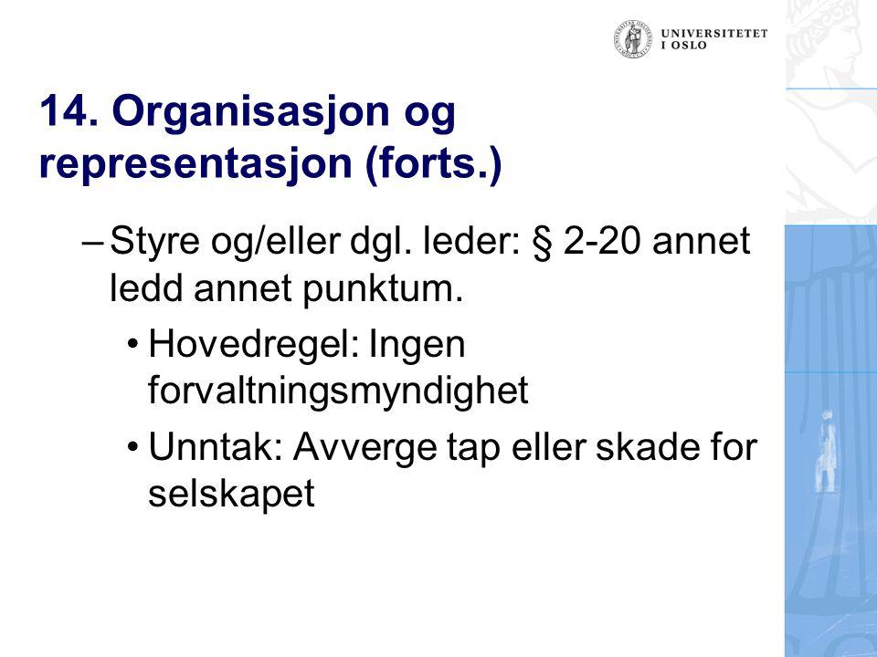 14. Organisasjon og representasjon (forts.) – Styre og/eller dgl.