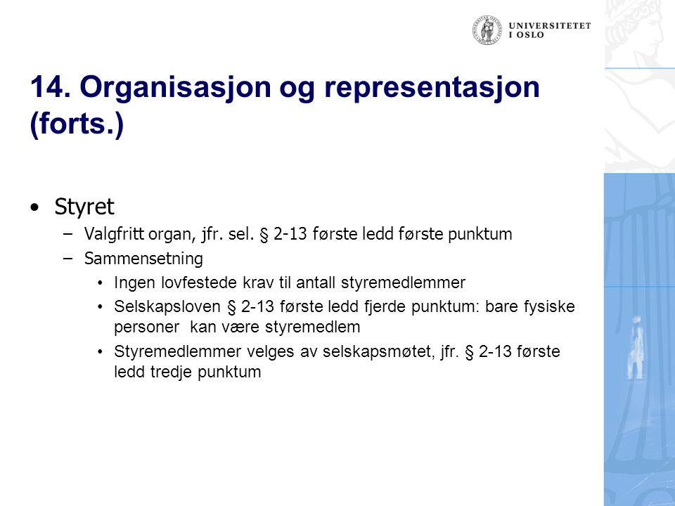 14. Organisasjon og representasjon (forts.) Styret –Valgfritt organ, jfr.