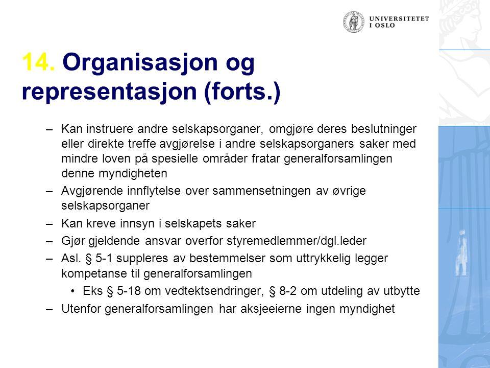 14. Organisasjon og representasjon (forts.) – Kan instruere andre selskapsorganer, omgjøre deres beslutninger eller direkte treffe avgjørelse i andre