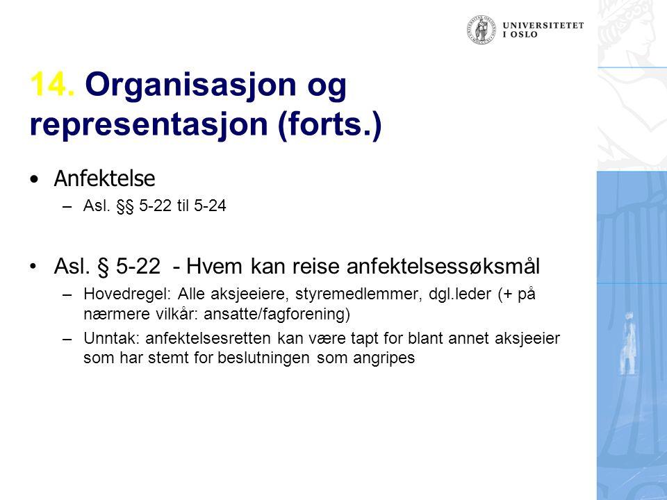 14. Organisasjon og representasjon (forts.) Anfektelse – Asl.