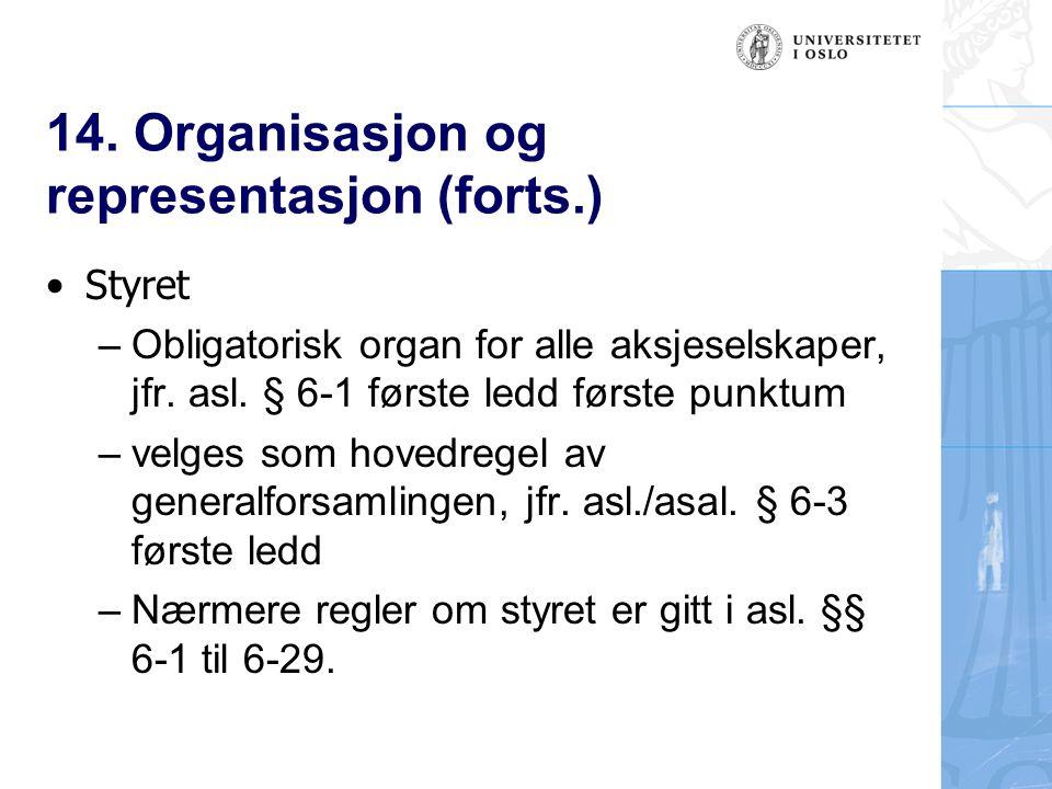 14. Organisasjon og representasjon (forts.) Styret – Obligatorisk organ for alle aksjeselskaper, jfr. asl. § 6-1 første ledd første punktum – velges s