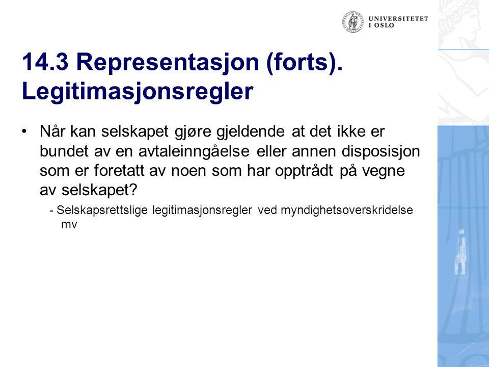 14.3 Representasjon (forts).