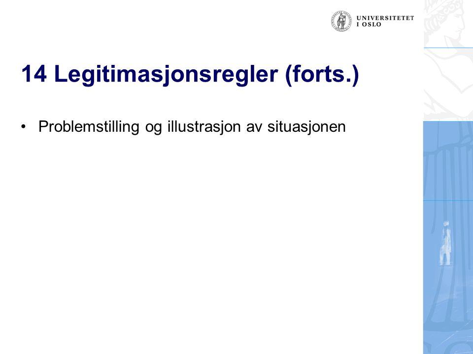 14 Legitimasjonsregler (forts.) Problemstilling og illustrasjon av situasjonen