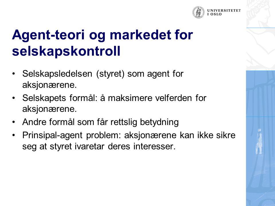Agent-teori og markedet for selskapskontroll Selskapsledelsen (styret) som agent for aksjonærene.