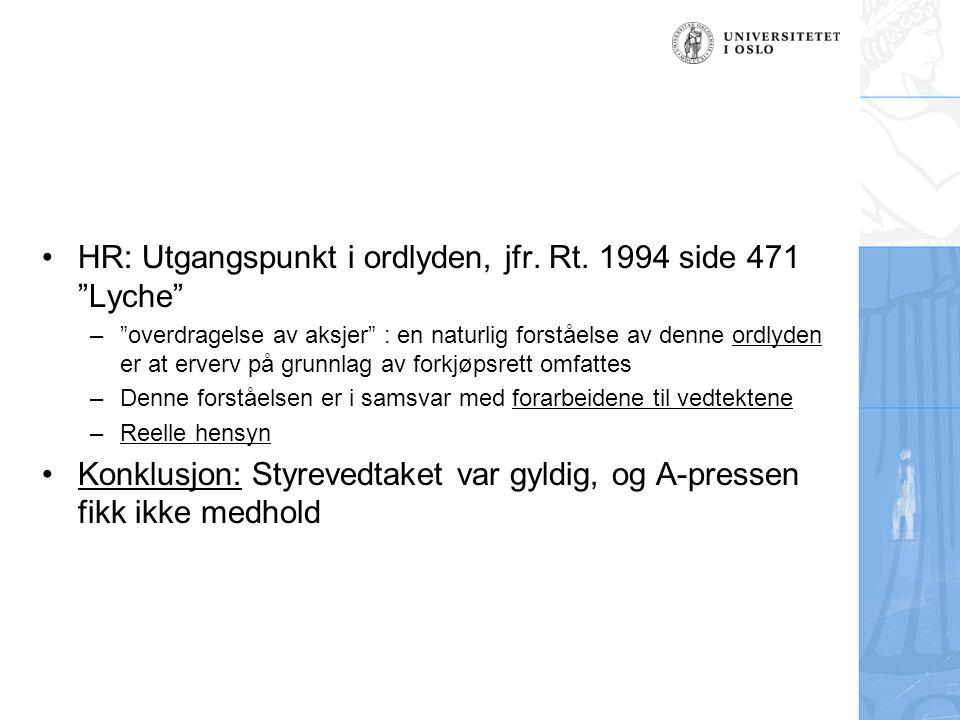HR: Utgangspunkt i ordlyden, jfr. Rt.