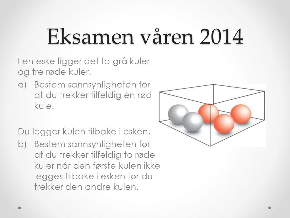 Eksamen våren 2014 I en eske ligger det to grå kuler og tre røde kuler.