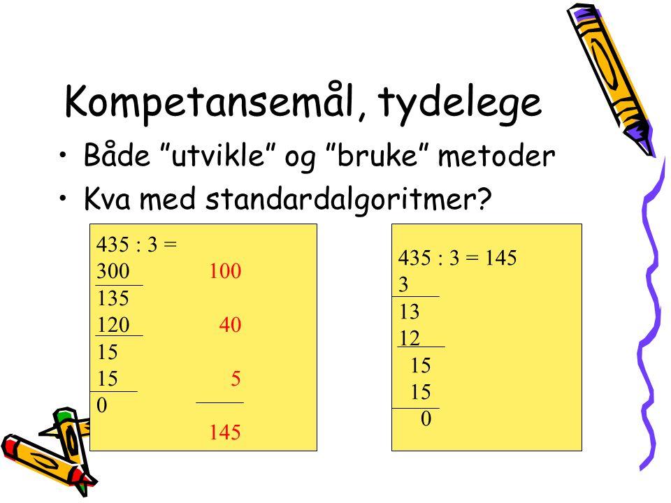Kompetansemål, tydelege Både utvikle og bruke metoder Kva med standardalgoritmer.
