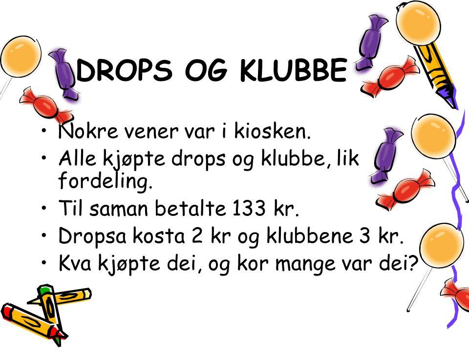 DROPS OG KLUBBE Nokre vener var i kiosken. Alle kjøpte drops og klubbe, lik fordeling.