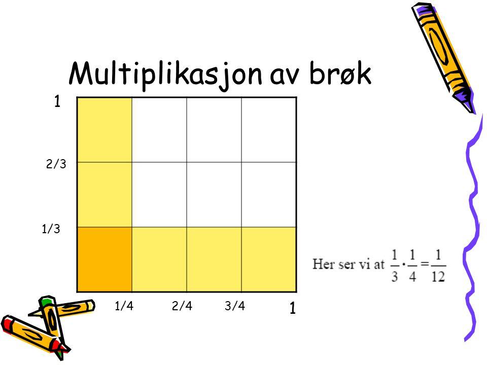 Multiplikasjon av brøk 1/4 2/3 1 1/3 2/43/4 1