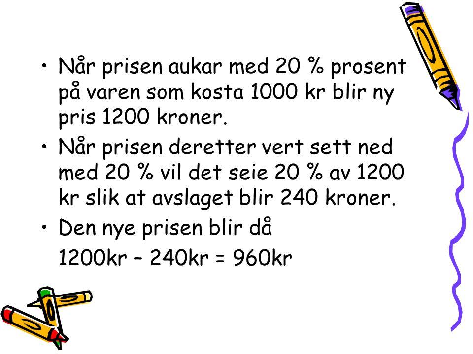Når prisen aukar med 20 % prosent på varen som kosta 1000 kr blir ny pris 1200 kroner.