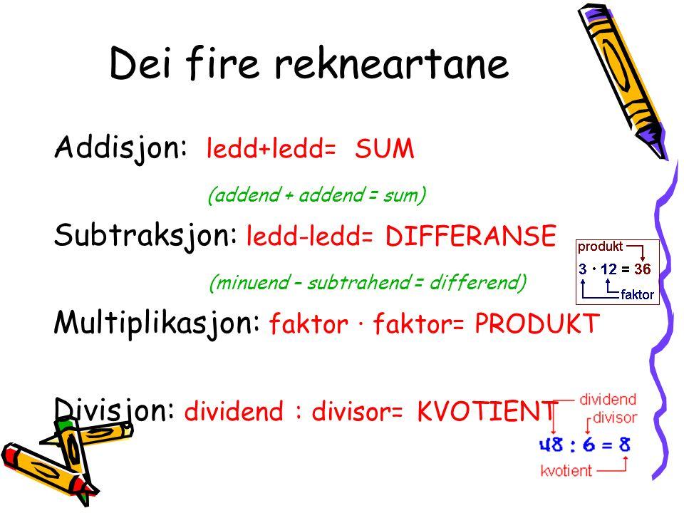 Dei fire rekneartane Addisjon: ledd+ledd= SUM (addend + addend = sum) Subtraksjon: ledd-ledd= DIFFERANSE (minuend – subtrahend = differend) Multiplikasjon: faktor · faktor= PRODUKT Divisjon: dividend : divisor= KVOTIENT