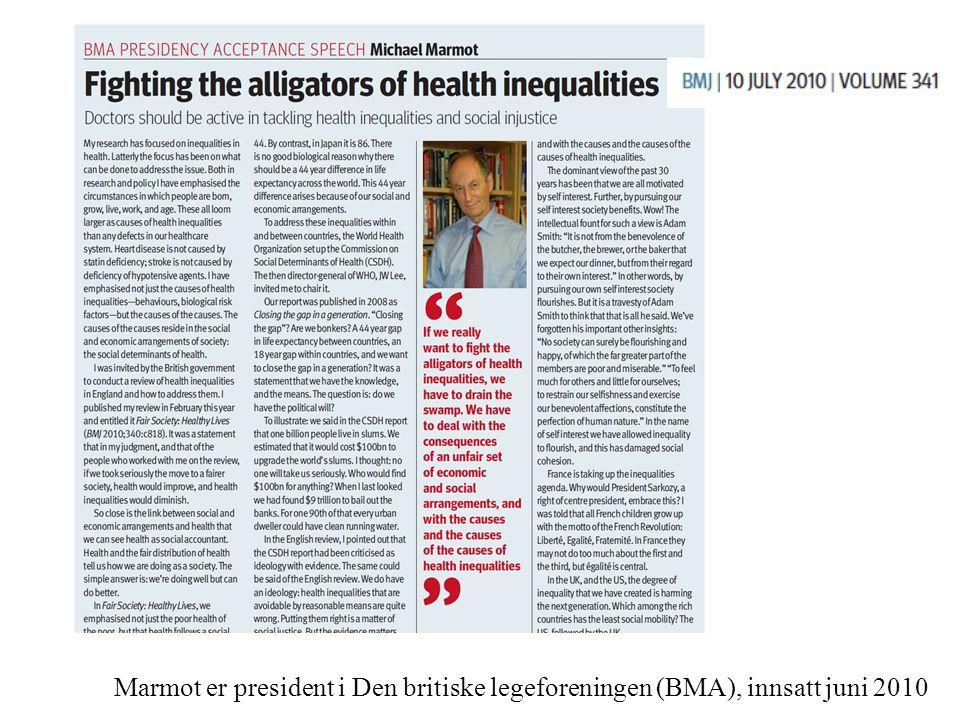 Marmot er president i Den britiske legeforeningen (BMA), innsatt juni 2010