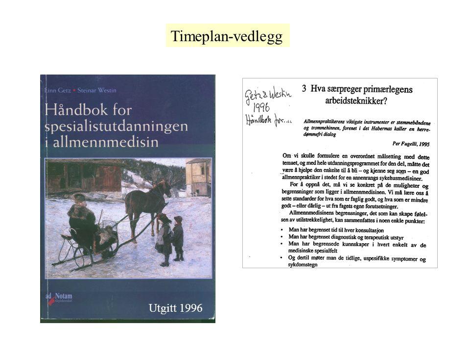 Utgitt 1996 Timeplan-vedlegg