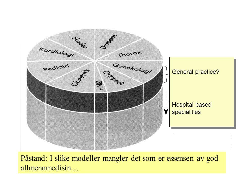 General practice. Hospital based specialities General practice.