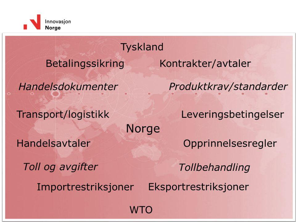 3 Handelsteknikk WTO Handelsavtaler Norge Betalingssikring Leveringsbetingelser Tollbehandling Produktkrav/standarder Opprinnelsesregler Eksportrestriksjoner Kontrakter/avtaler Transport/logistikk Handelsdokumenter Tyskland Importrestriksjoner Toll og avgifter