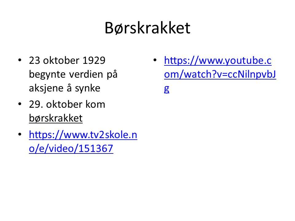 Børskrakket 23 oktober 1929 begynte verdien på aksjene å synke 29.
