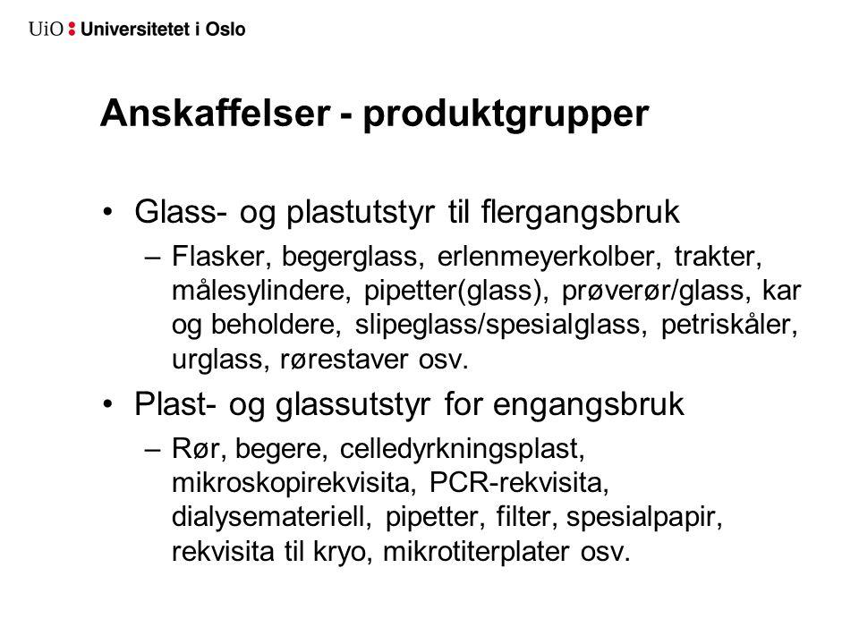 Anskaffelser - produktgrupper Glass- og plastutstyr til flergangsbruk –Flasker, begerglass, erlenmeyerkolber, trakter, målesylindere, pipetter(glass), prøverør/glass, kar og beholdere, slipeglass/spesialglass, petriskåler, urglass, rørestaver osv.
