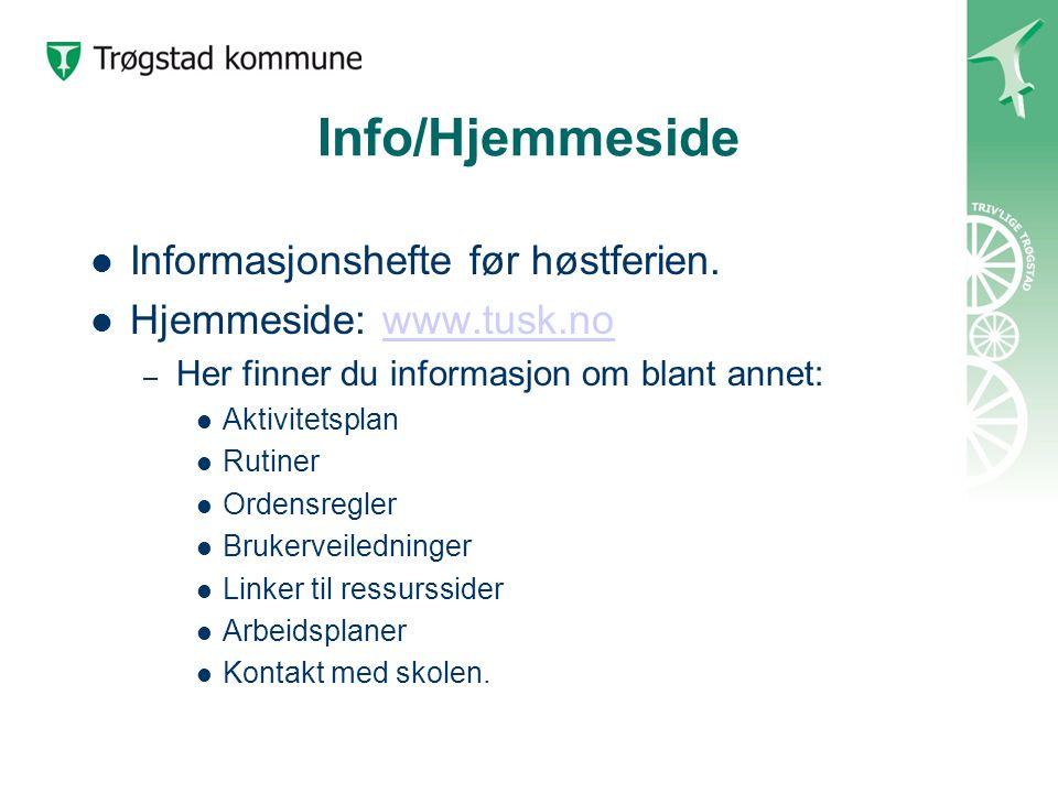 Info/Hjemmeside Informasjonshefte før høstferien.
