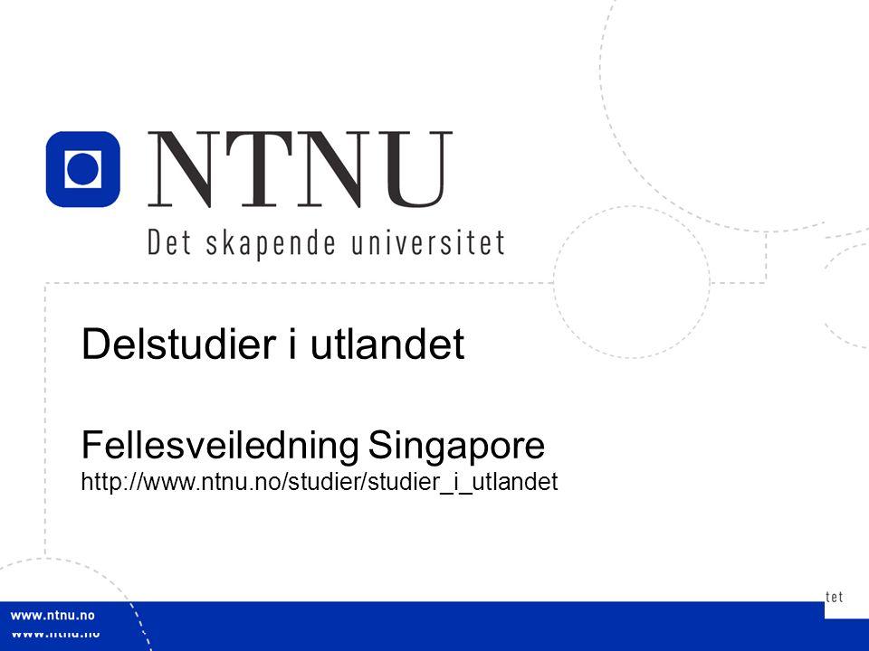 1 Delstudier i utlandet Fellesveiledning Singapore http://www.ntnu.no/studier/studier_i_utlandet