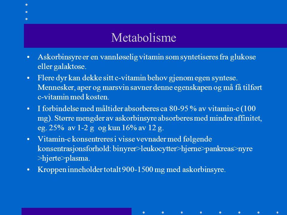 Meta b olisme Askorbinsyre er en vannløselig vitamin som syntetiseres fra glukose eller galaktose. Flere dyr kan dekke sitt c-vitamin behov gjenom ege