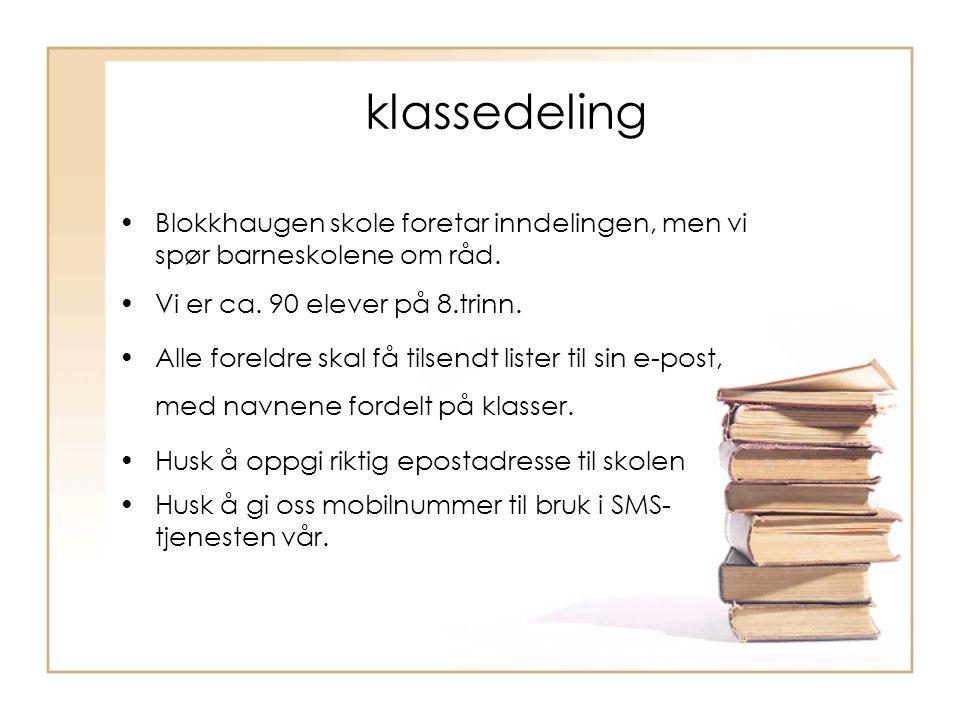 klassedeling Blokkhaugen skole foretar inndelingen, men vi spør barneskolene om råd. Vi er ca. 90 elever på 8.trinn. Alle foreldre skal få tilsendt li