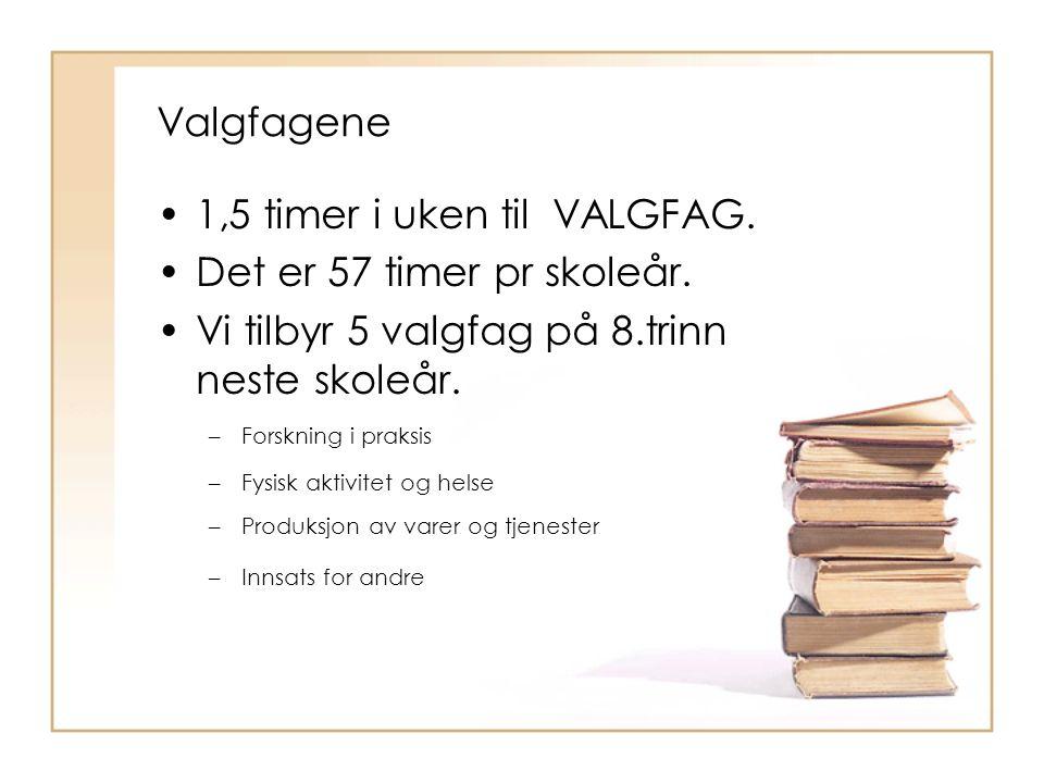 Valgfagene 1,5 timer i uken til VALGFAG. Det er 57 timer pr skoleår. Vi tilbyr 5 valgfag på 8.trinn neste skoleår. –Forskning i praksis –Fysisk aktivi