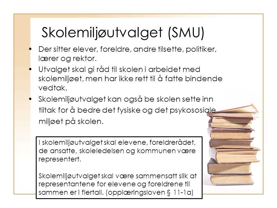 Skolemiljøutvalget (SMU) Der sitter elever, foreldre, andre tilsette, politiker, lærer og rektor. Utvalget skal gi råd til skolen i arbeidet med skole
