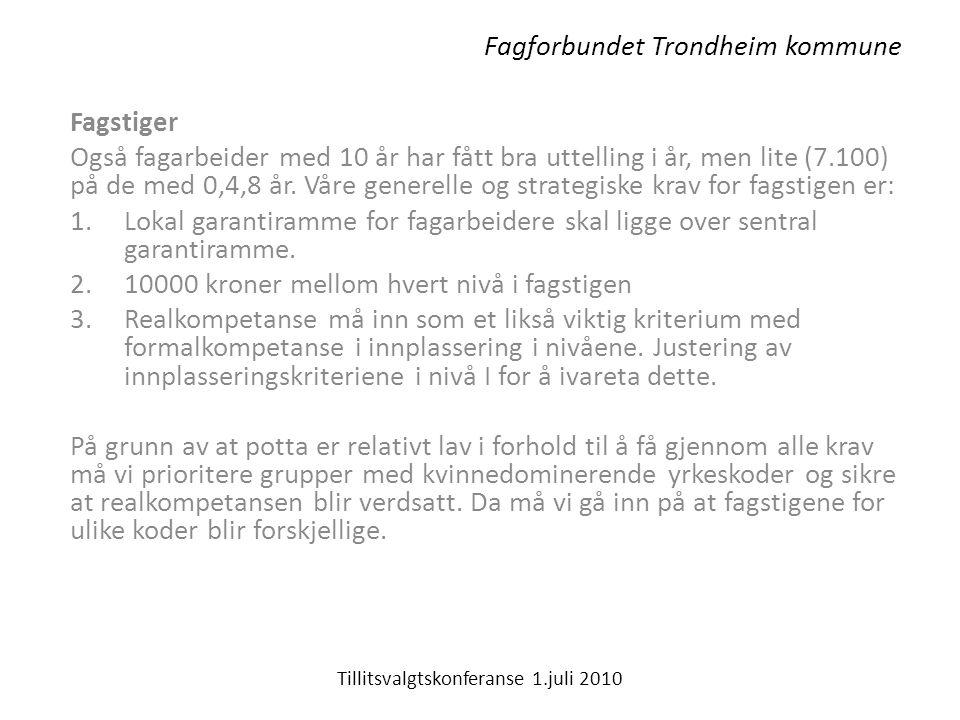 Fagforbundet Trondheim kommune Fagstiger Også fagarbeider med 10 år har fått bra uttelling i år, men lite (7.100) på de med 0,4,8 år.