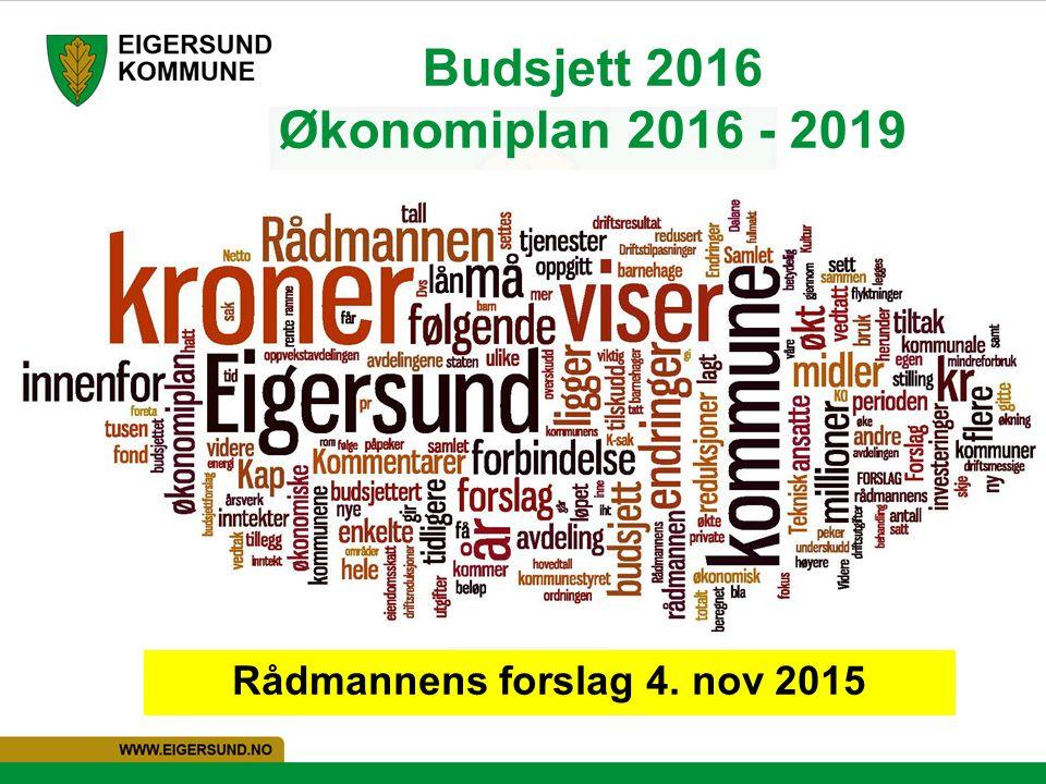 Budsjett 2016 Økonomiplan 2016 - 2019 Rådmannens forslag 4. nov 2015