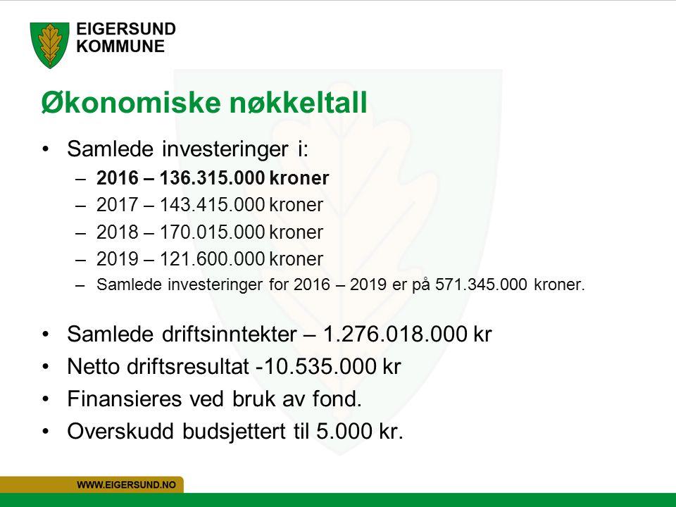 Økonomiske nøkkeltall Samlede investeringer i: –2016 – 136.315.000 kroner –2017 – 143.415.000 kroner –2018 – 170.015.000 kroner –2019 – 121.600.000 kroner –Samlede investeringer for 2016 – 2019 er på 571.345.000 kroner.