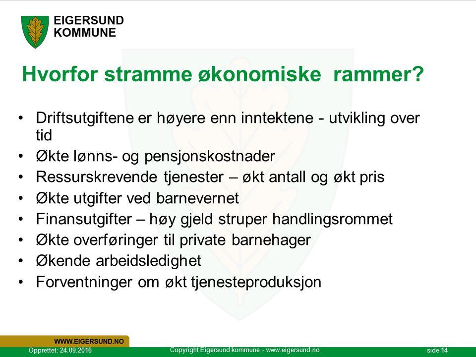 Copyright Eigersund kommune - www.eigersund.no Opprettet: 24.09.2016side 14 Hvorfor stramme økonomiske rammer.