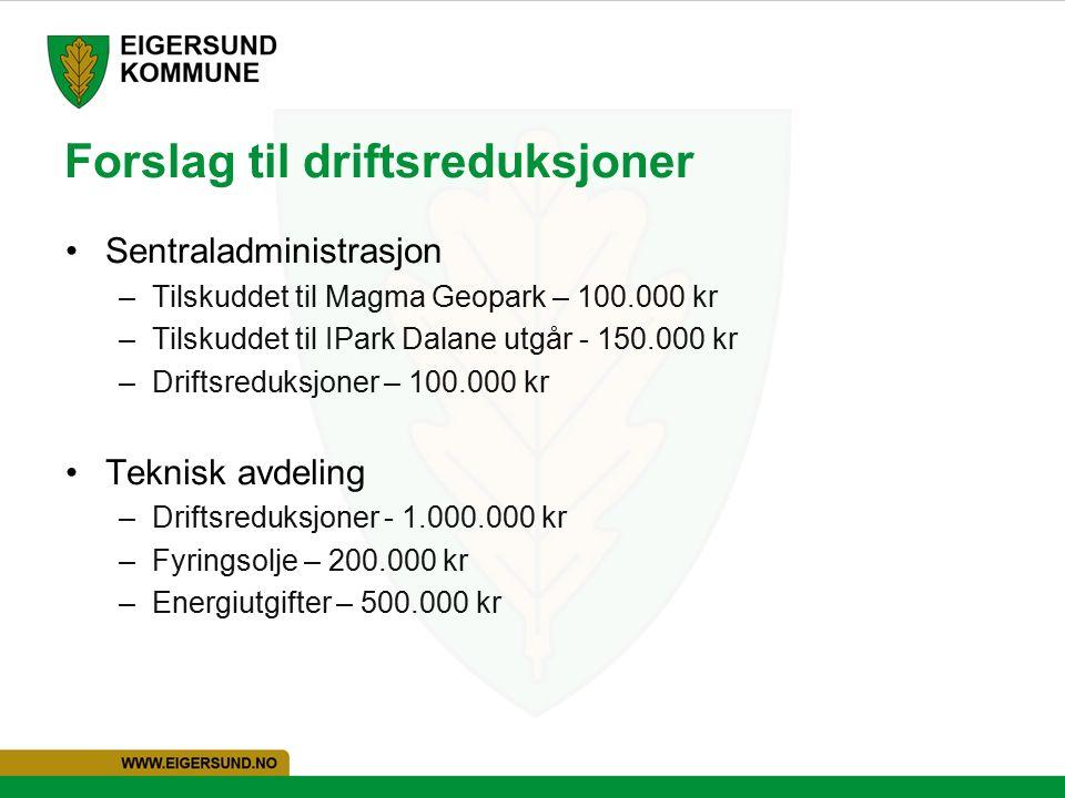 Forslag til driftsreduksjoner Sentraladministrasjon –Tilskuddet til Magma Geopark – 100.000 kr –Tilskuddet til IPark Dalane utgår - 150.000 kr –Driftsreduksjoner – 100.000 kr Teknisk avdeling –Driftsreduksjoner - 1.000.000 kr –Fyringsolje – 200.000 kr –Energiutgifter – 500.000 kr