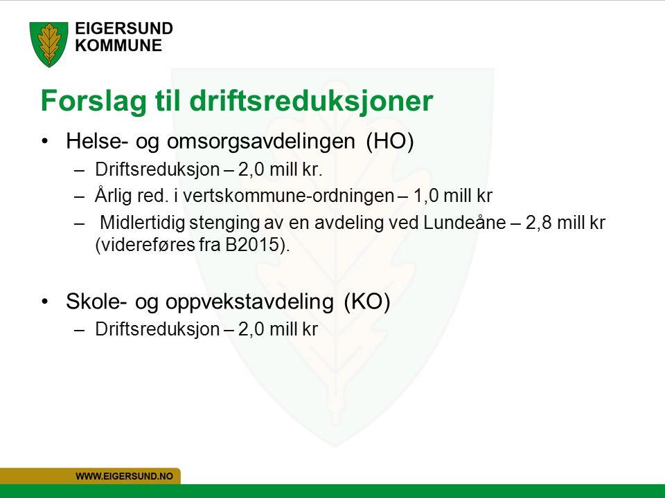 Forslag til driftsreduksjoner Helse- og omsorgsavdelingen (HO) –Driftsreduksjon – 2,0 mill kr.