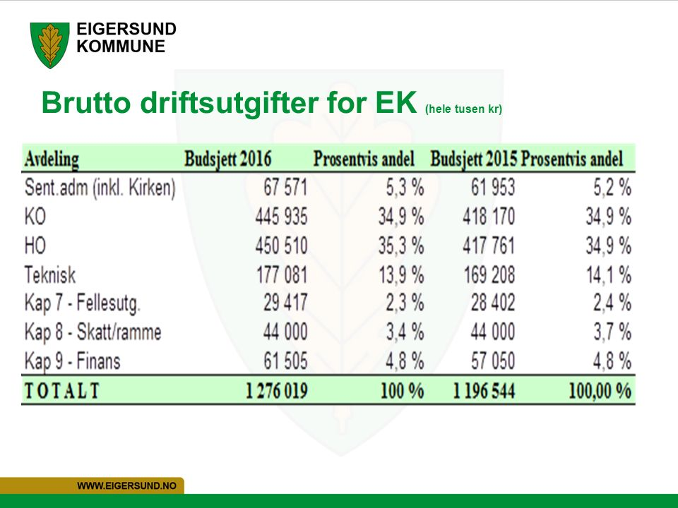 Brutto driftsutgifter for EK (hele tusen kr)