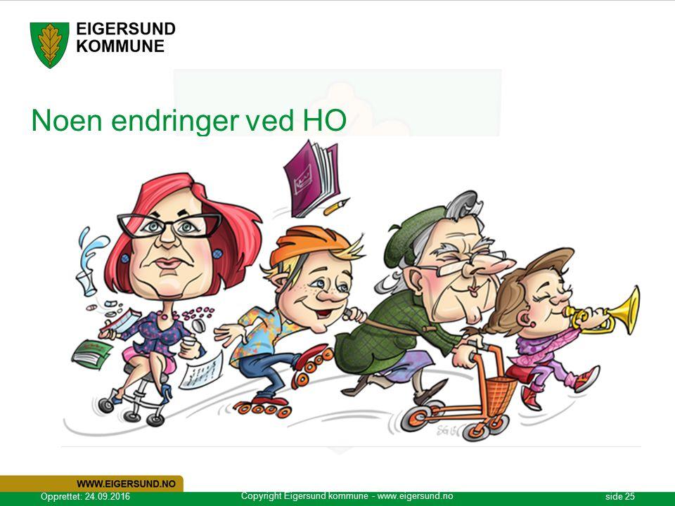 Copyright Eigersund kommune - www.eigersund.no Opprettet: 24.09.2016side 25 Noen endringer ved HO