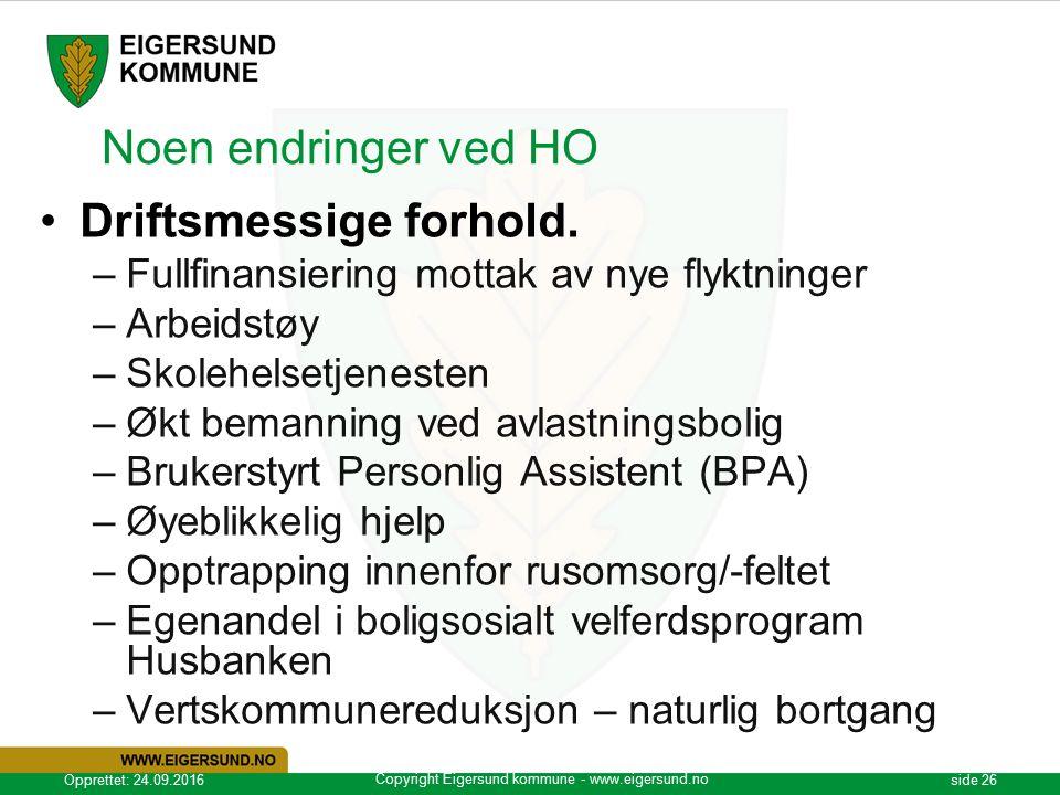 Copyright Eigersund kommune - www.eigersund.no Opprettet: 24.09.2016side 26 Noen endringer ved HO Driftsmessige forhold.