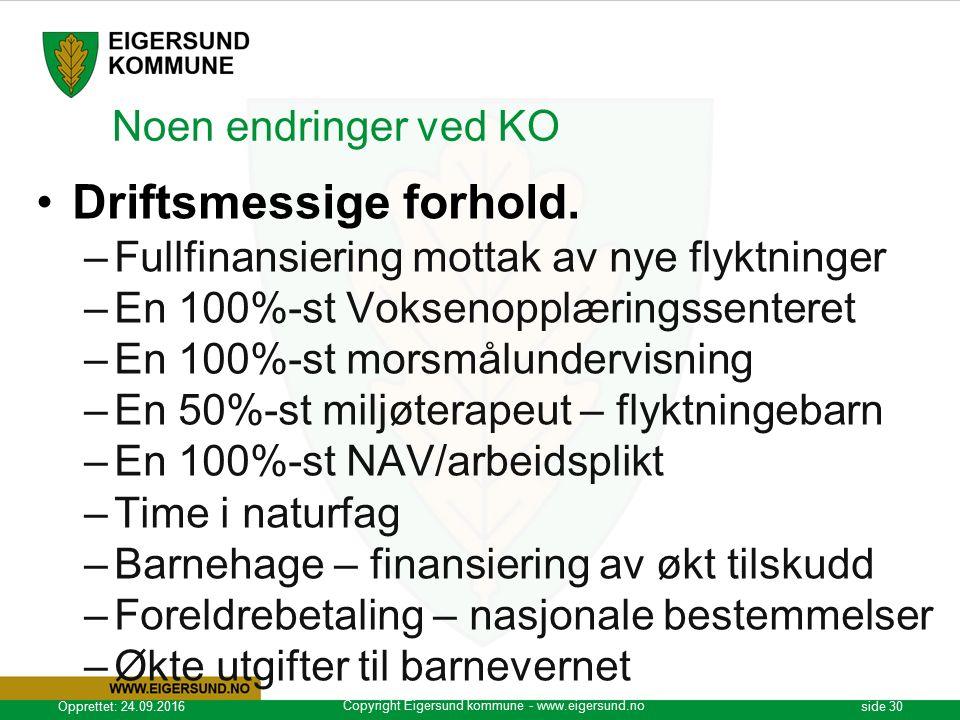 Copyright Eigersund kommune - www.eigersund.no Opprettet: 24.09.2016side 30 Noen endringer ved KO Driftsmessige forhold.