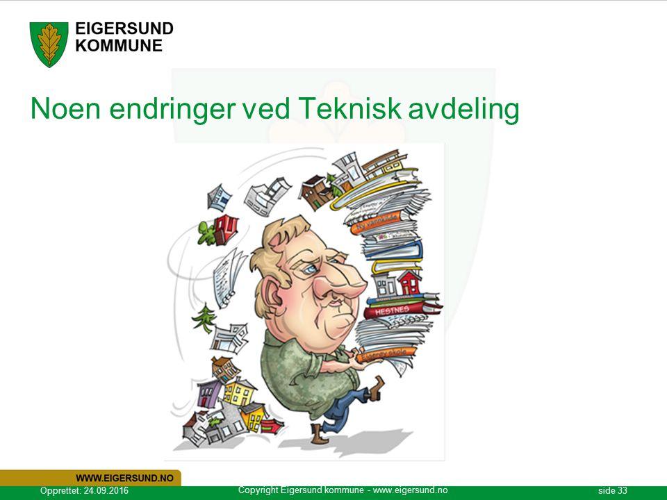 Copyright Eigersund kommune - www.eigersund.no Opprettet: 24.09.2016side 33 Noen endringer ved Teknisk avdeling