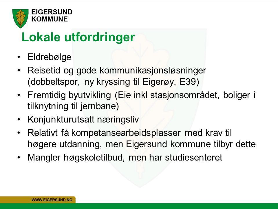 Lokale utfordringer Eldrebølge Reisetid og gode kommunikasjonsløsninger (dobbeltspor, ny kryssing til Eigerøy, E39) Fremtidig byutvikling (Eie inkl stasjonsområdet, boliger i tilknytning til jernbane) Konjunkturutsatt næringsliv Relativt få kompetansearbeidsplasser med krav til høgere utdanning, men Eigersund kommune tilbyr dette Mangler høgskoletilbud, men har studiesenteret