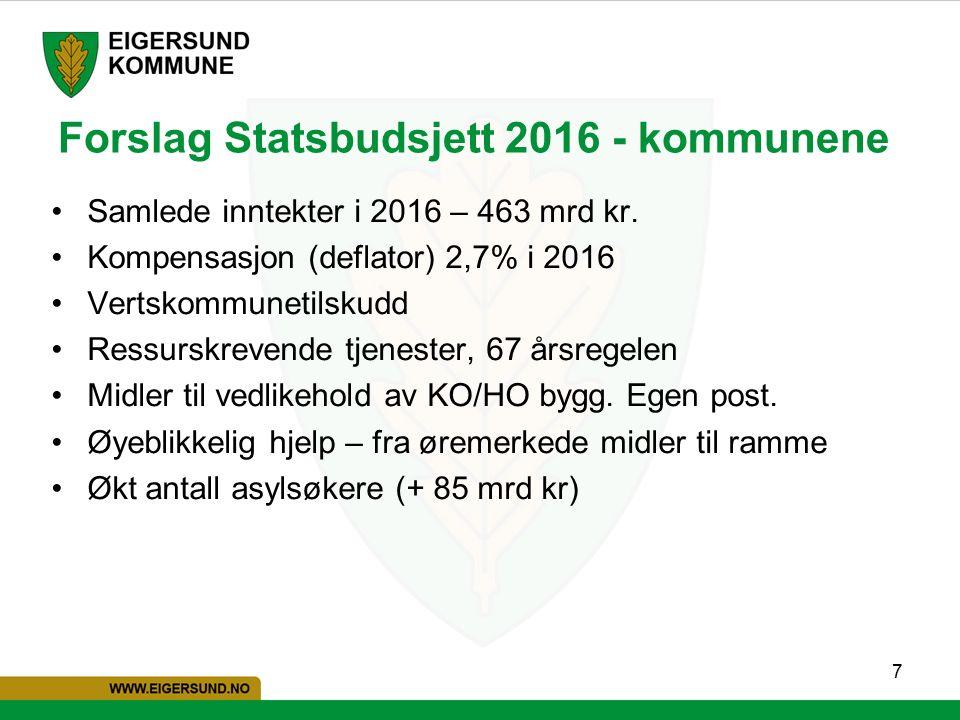 7 Forslag Statsbudsjett 2016 - kommunene Samlede inntekter i 2016 – 463 mrd kr.