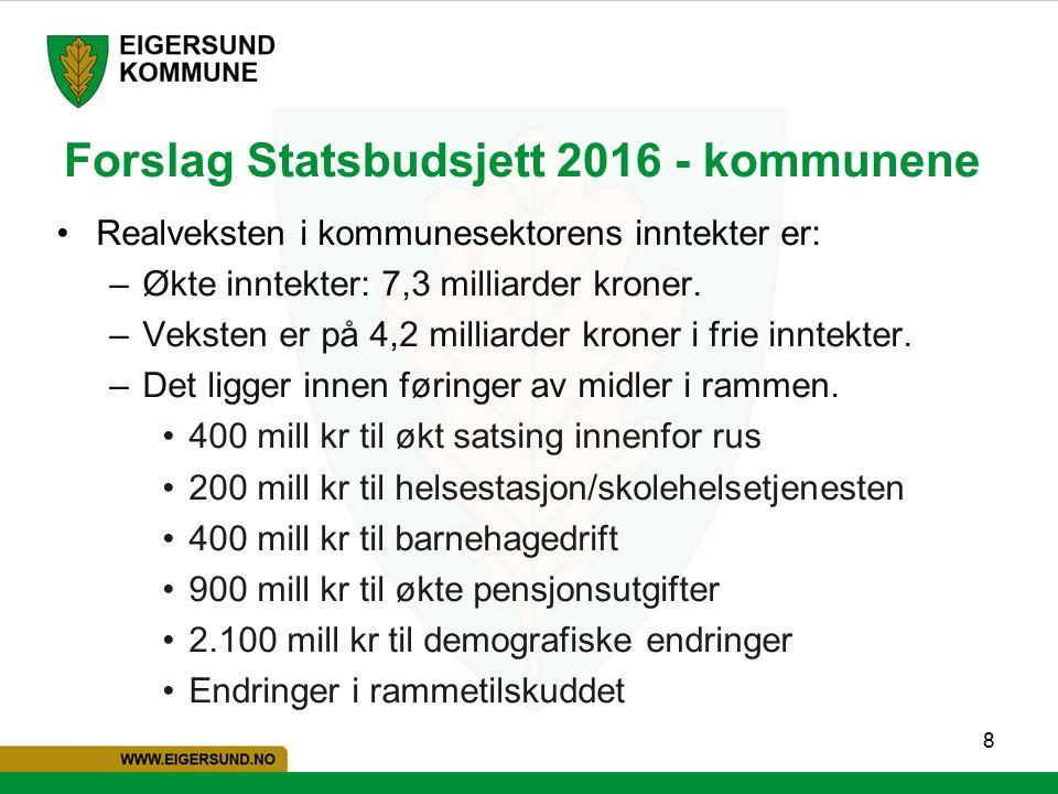 8 Forslag Statsbudsjett 2016 - kommunene Realveksten i kommunesektorens inntekter er: –Økte inntekter: 7,3 milliarder kroner.