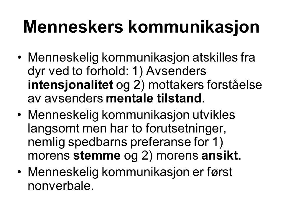 Menneskers kommunikasjon Menneskelig kommunikasjon atskilles fra dyr ved to forhold: 1) Avsenders intensjonalitet og 2) mottakers forståelse av avsenders mentale tilstand.