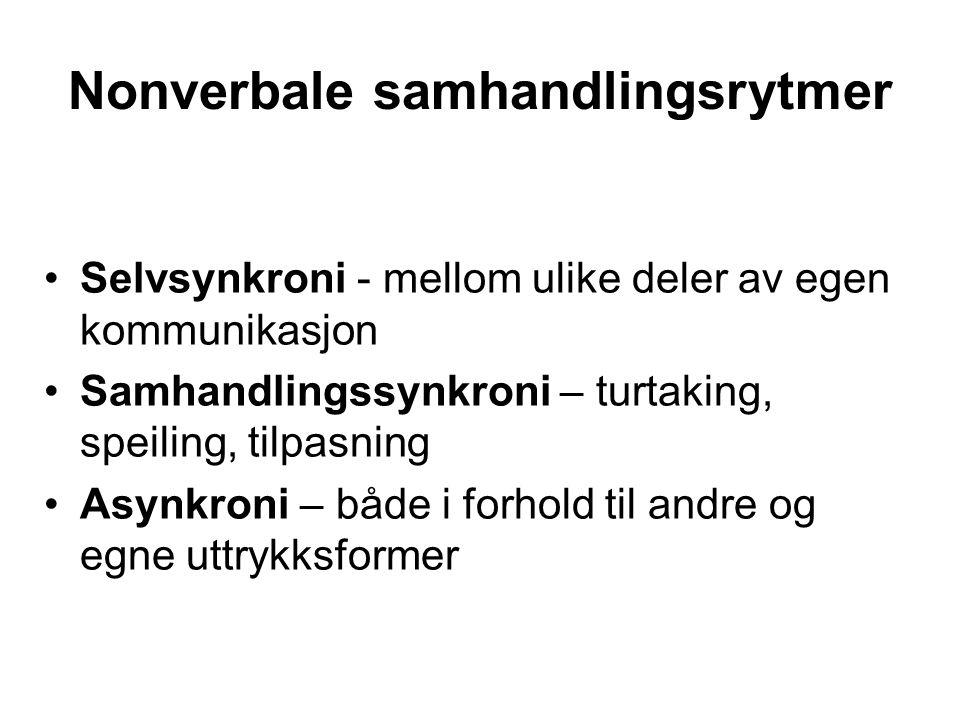 Nonverbale samhandlingsrytmer Selvsynkroni - mellom ulike deler av egen kommunikasjon Samhandlingssynkroni – turtaking, speiling, tilpasning Asynkroni