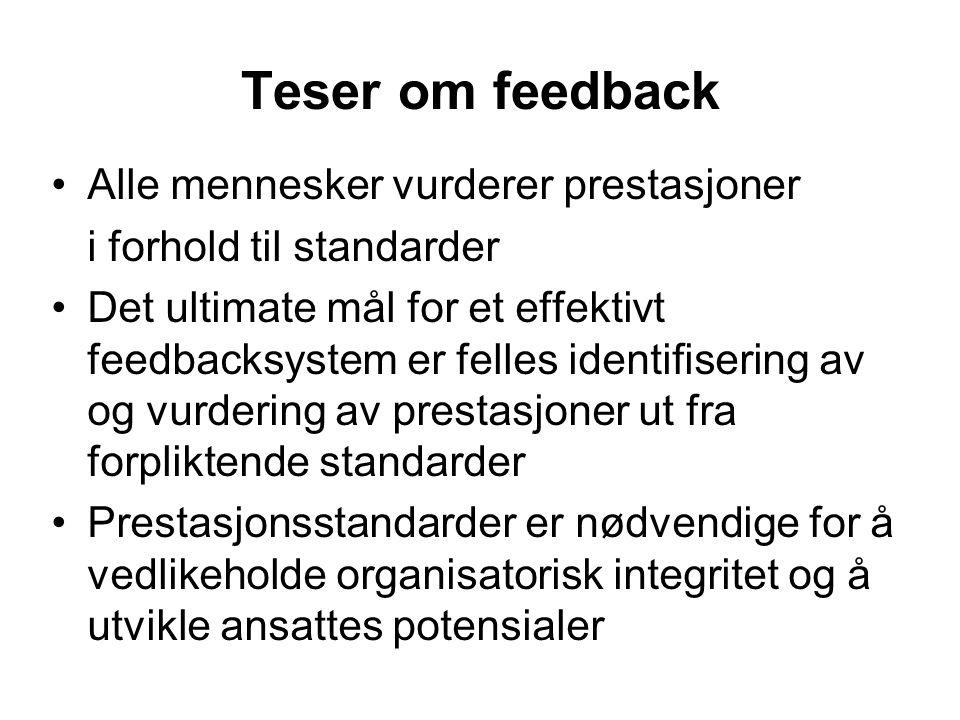 Teser om feedback Alle mennesker vurderer prestasjoner i forhold til standarder Det ultimate mål for et effektivt feedbacksystem er felles identifisering av og vurdering av prestasjoner ut fra forpliktende standarder Prestasjonsstandarder er nødvendige for å vedlikeholde organisatorisk integritet og å utvikle ansattes potensialer