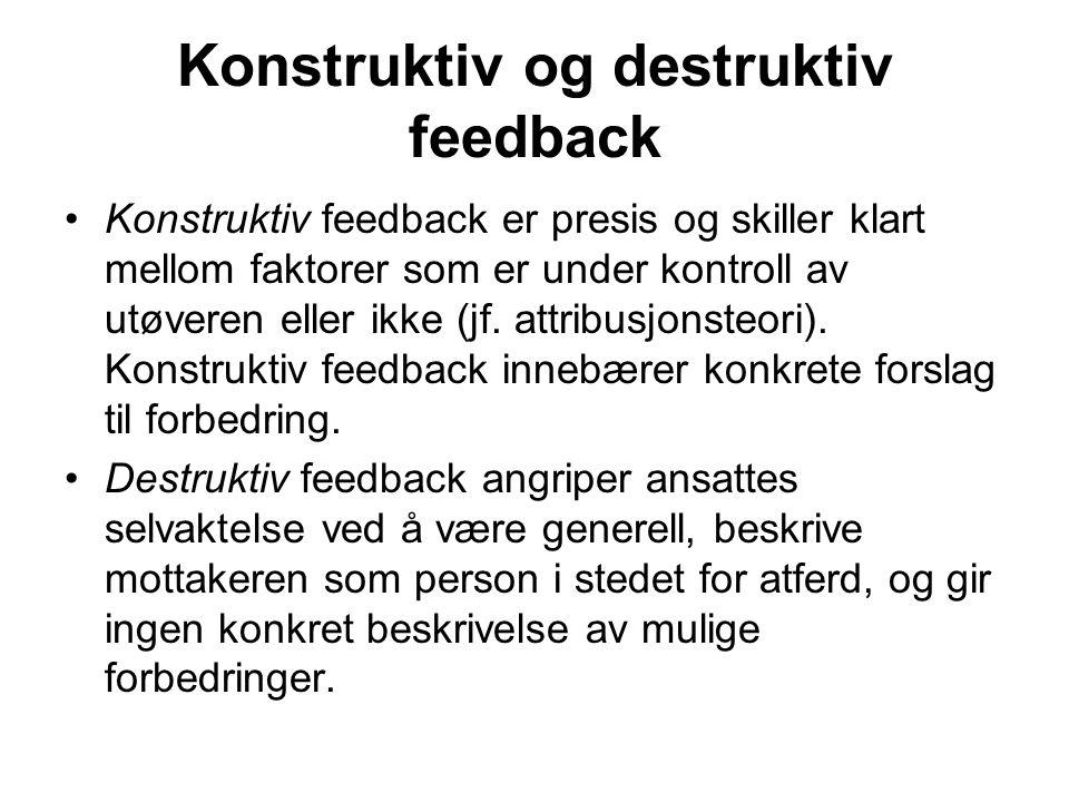 Konstruktiv og destruktiv feedback Konstruktiv feedback er presis og skiller klart mellom faktorer som er under kontroll av utøveren eller ikke (jf.